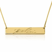 24k Gold Plated Signature Bar Nameplate Necklace