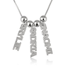 Sterling Silver Dangling Names Necklace