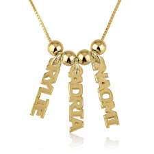 24k Gold Plated Dangling Names Necklace