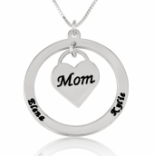 Sterling Silver Dangling Heart Mother Necklace