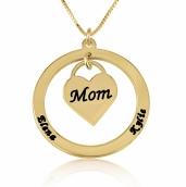 24k Gold Plated Dangling Heart Mother Necklace