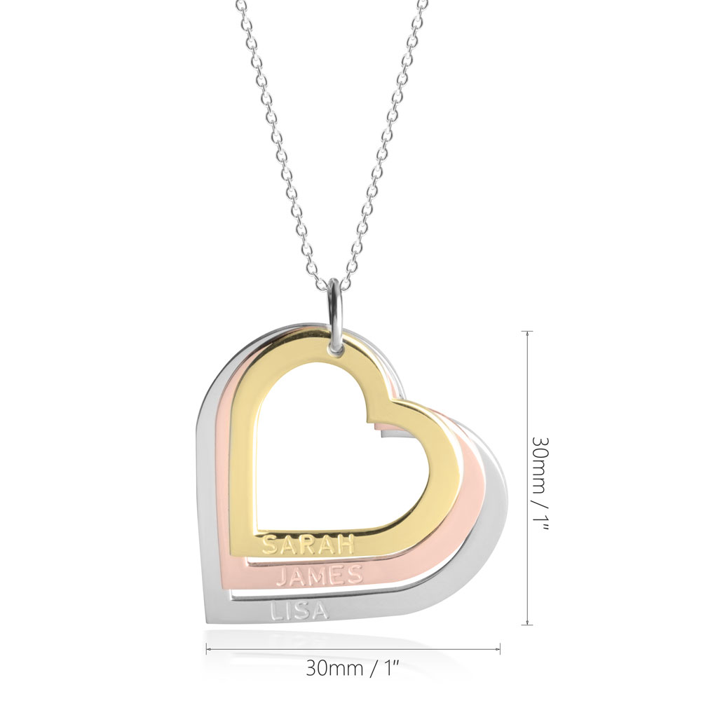 Three Toned Engraved Hearts Mother Necklace - Information