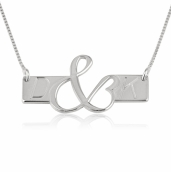 Sterling Silver Initial Love Bar Necklace