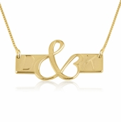 24k Gold Plated Initial Love Bar Necklace
