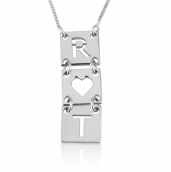 Sterling Silver Stacked Cut Out Initials Necklace