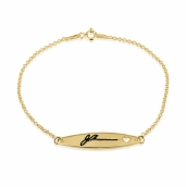 24k Gold Plated Signature Bracelet with Cut Out Heart