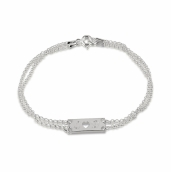 Sterling Silver Initial and Cut Out Heart Love Bracelet