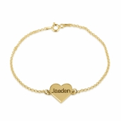 24k Gold Plated Engraved Heart Bracelet