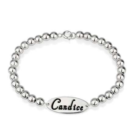 Bracelet Perles Prénom Plaque Ovale