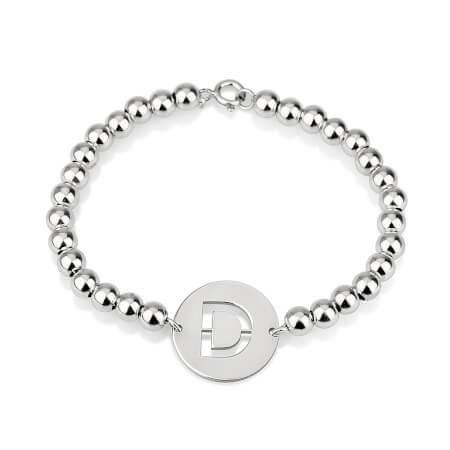Bracelet Perles Initiale Découpée