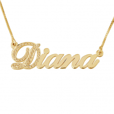 Cubic Zirconia One Letter Name Necklace in Gold Plating