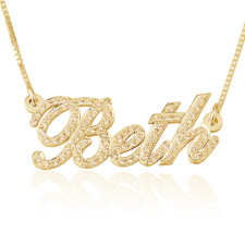 Cubic Zirconia Name Necklace in Gold Plating