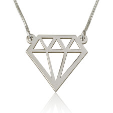 Diamond Shape Necklace in Silver