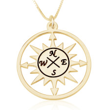 Cut Out Compass Necklace in Gold Plating