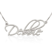 White Gold Diamond Name Necklace