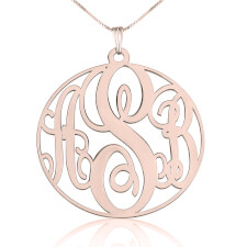 Rose Gold Circle Monogram Necklace