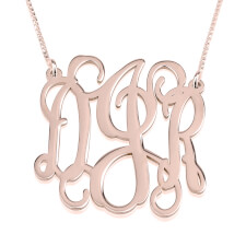 Rose Gold Curly Split Chain Monogram Necklace