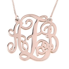 Rose Gold Split Chain Monogram Necklace