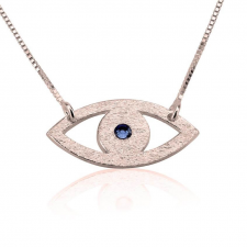 Rose Gold Evil Eye Necklace with Birthstone