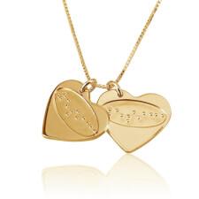 Collier d'Amour 2 Cœurs Gravure Braille en Plaqué Or