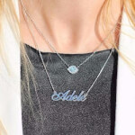 Silver Classic Name Necklace - How it looks in reality - Thumbnail - 15