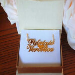 24K Gold Plating Alegro Two Name Necklace with Heart -                          How it looks in reality - Thumbnail - 2