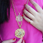 24k Gold Plated Circle Monogram Necklace -                          	How it looks in reality - Thumbnail - 6