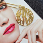 24k Gold Plated Circle Monogram Necklace -                          	How it looks in reality - Thumbnail - 2