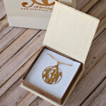 24k Gold Plated Circle Monogram Necklace -                          	How it looks in reality - Thumbnail - 7