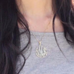 24k Gold Plated Circle Monogram Necklace -                          	How it looks in reality - Thumbnail - 8