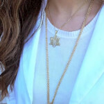 24k Gold Plated Monogram Necklace -                          	How it looks in reality - Thumbnail - 2