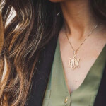 24k Gold Plated Monogram Necklace -                          	How it looks in reality - Thumbnail - 3