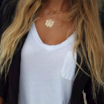 24k Gold Plated Monogram Necklace -                          	How it looks in reality - Thumbnail - 5