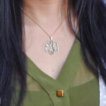24k Gold Plated Monogram Necklace -                          	How it looks in reality - Thumbnail - 10