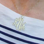 24k Gold Plated Monogram Necklace -                          	How it looks in reality - Thumbnail - 12