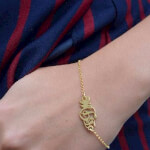 24k Gold Plated Monogram Bracelet - How it looks in reality - Thumbnail - 3