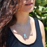 Sterling Silver Two Initial Necklace -                          How it looks in reality - Thumbnail - 2