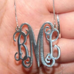 Sterling Silver Curly Split Chain Monogram Necklace -                          	How it looks in reality - Thumbnail - 5