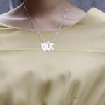 Collier Monogramme trait d'union en Argent -                          	How it looks in reality - Thumbnail - 2