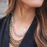 24K Gold Plated Curly Split Chain Monogram Necklace -                          	How it looks in reality - Thumbnail - 0
