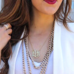 24K Gold Plated Curly Split Chain Monogram Necklace -                          	How it looks in reality - Thumbnail - 1