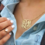 24K Gold Plated Curly Split Chain Monogram Necklace -                          	How it looks in reality - Thumbnail - 2