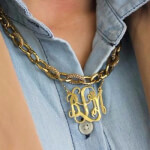 24K Gold Plated Curly Split Chain Monogram Necklace -                          	How it looks in reality - Thumbnail - 3