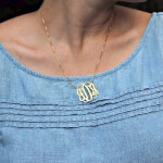 24K Gold Plated Curly Split Chain Monogram Necklace -                          	How it looks in reality - Thumbnail - 9