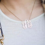 24K Gold Plated Curly Split Chain Monogram Necklace -                          	How it looks in reality - Thumbnail - 11