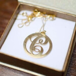 24K Gold Plated Circle Initial Necklace -                          	How it looks in reality - Thumbnail - 1