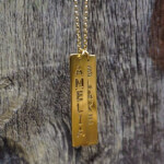 24K Gold Plated Vertical Bar Necklace with Two Names -                          	How it looks in reality - Thumbnail - 2