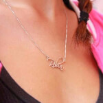 Sterling Silver Script Name Necklace -                          	How it looks in reality - Thumbnail - 5