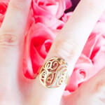 24K Gold Plated Framed Monogram Ring -                          How it looks in reality - Thumbnail - 2