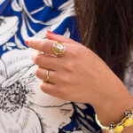 24K Gold Plated Framed Monogram Ring -                          How it looks in reality - Thumbnail - 10